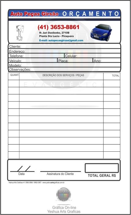 bloco de orçamento personalizado, Piraquara - bloco de orçamento, Piraquara